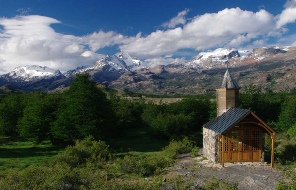 Mountain-and-hut nearby Estancia Cristina, Patagonia, Argentina
