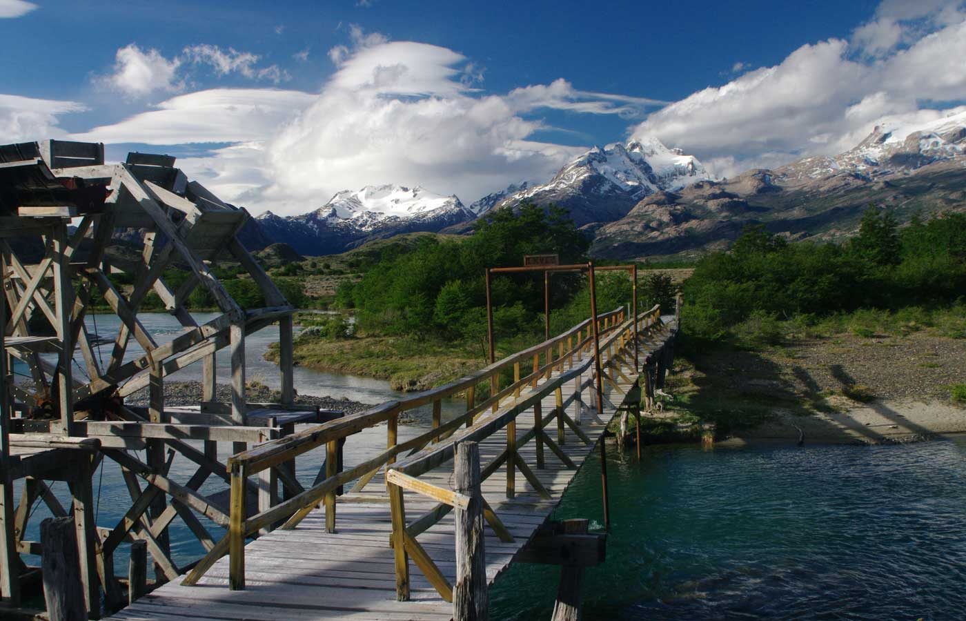 Wooden-bridge-over-lake at Estancia Cristina, Patagonia, Argentina