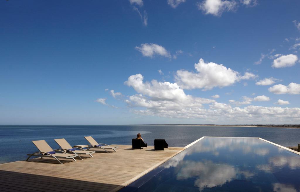 The sleek infinity pool at Playa Vik hotel in Uruguay