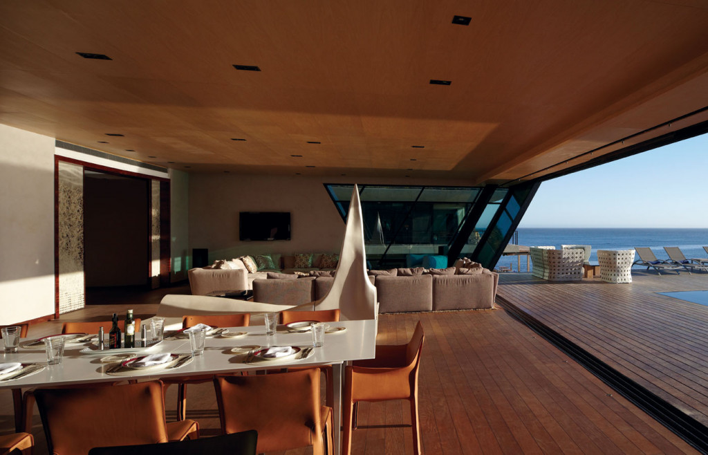 The modern interior of the sculpture building at Playa Vik in Uruguay.