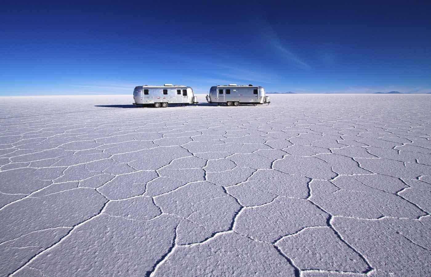 Deluxe Airstream Campers, Uyuni Salt Flats, Bolivia