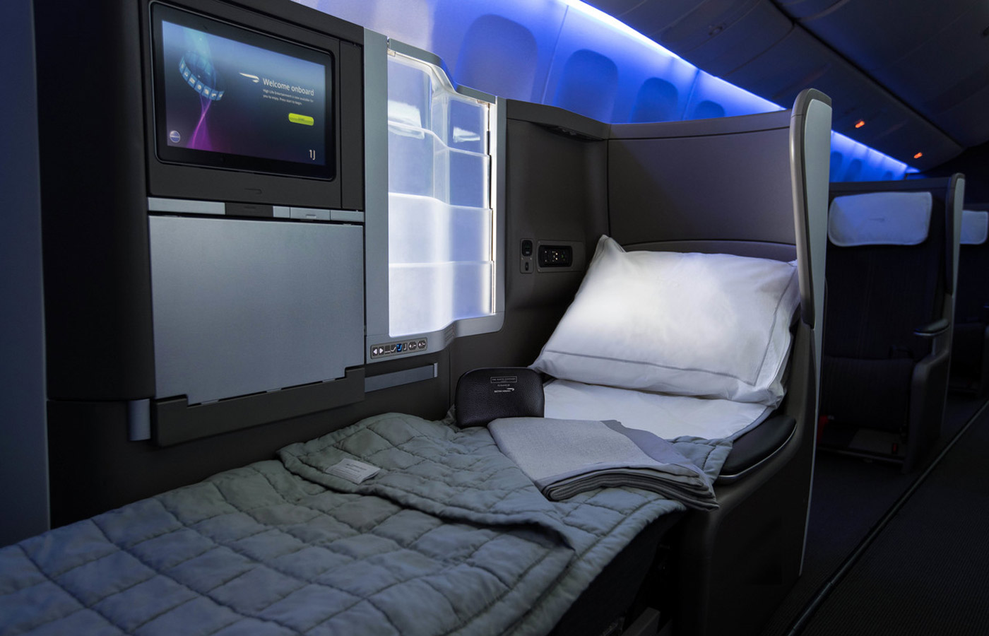 A fully reclining bed in the Club World cabin, British Airways business class
