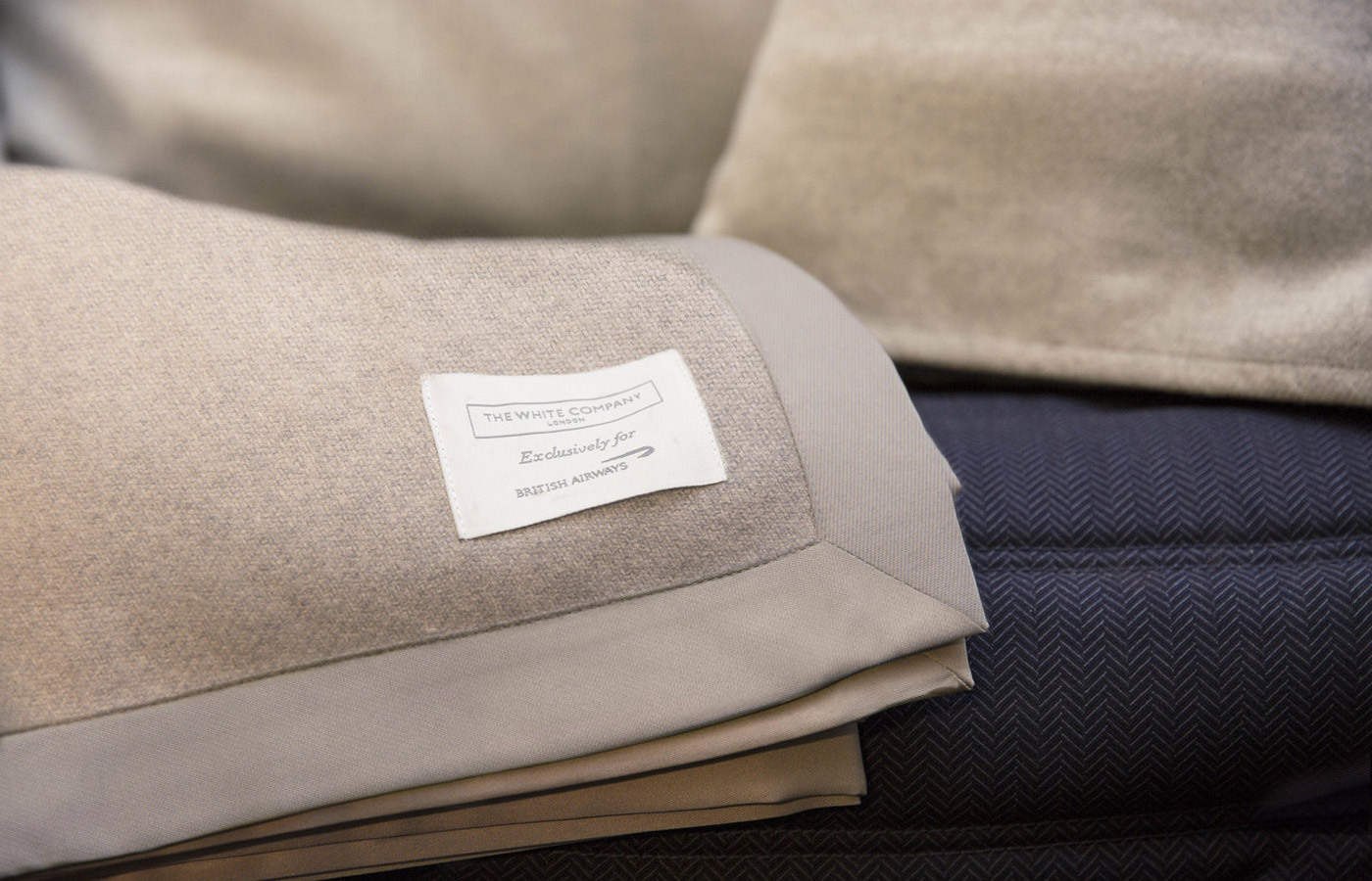 Comfortable White Company bedding in the British Airways Club World cabin