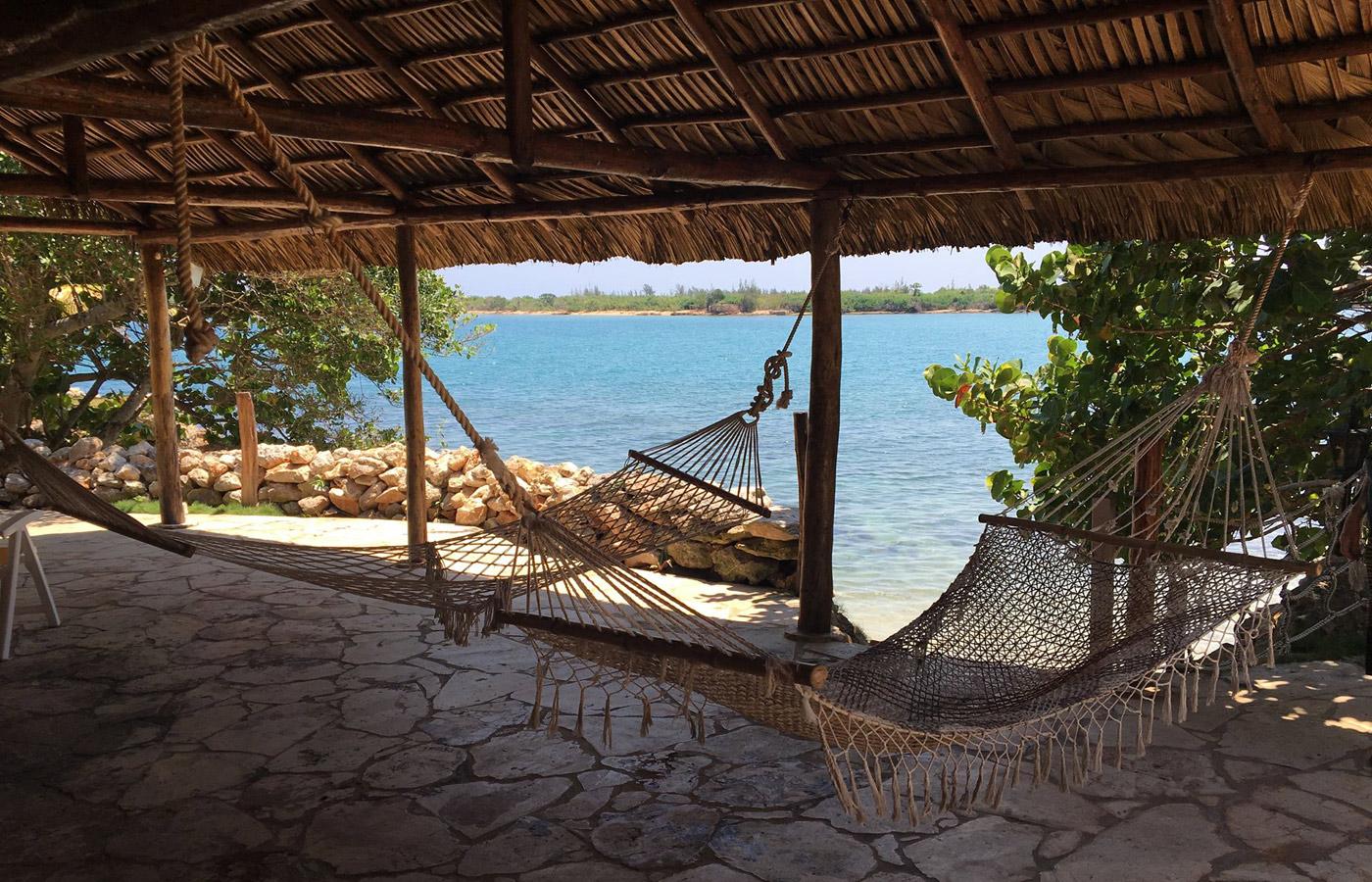Relaxing hammocks at Banes Beach outside of Havana, Cuba