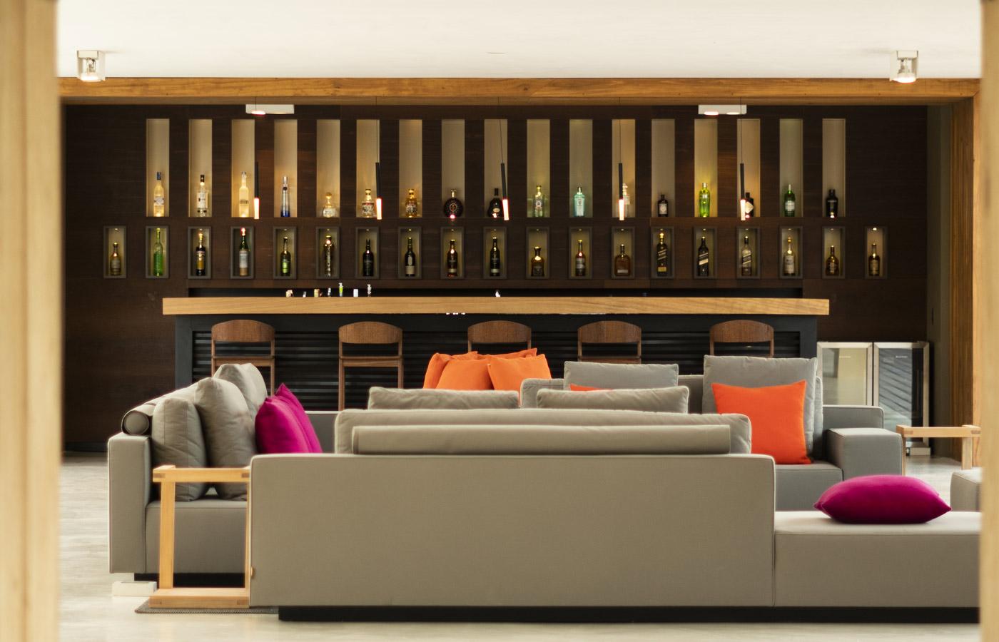 Bar lounge at Hotel Casana,luxury hotel in Prea, Brazil