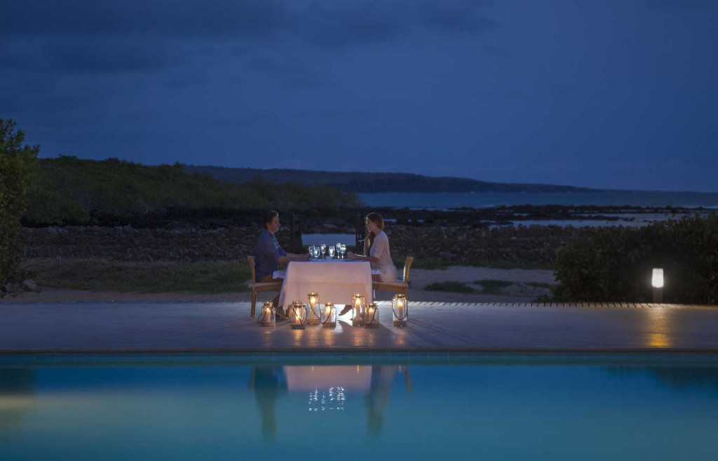 Dinner at Finch Bay under the clear night sky, Galapagos Islands
