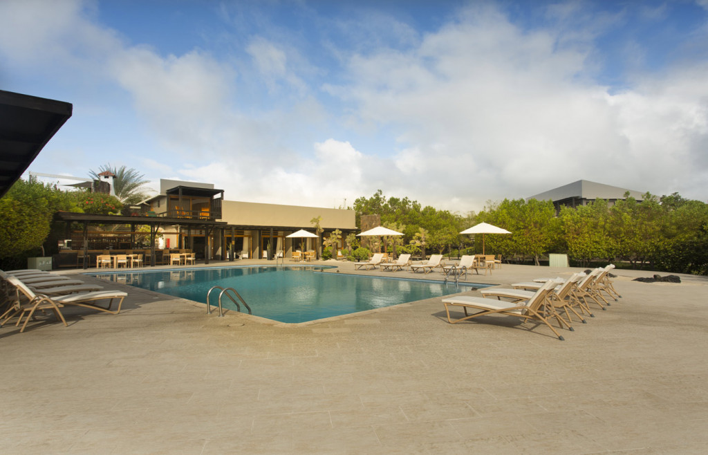 View of Finch Bay Hotel in the Galapagos, and the pool