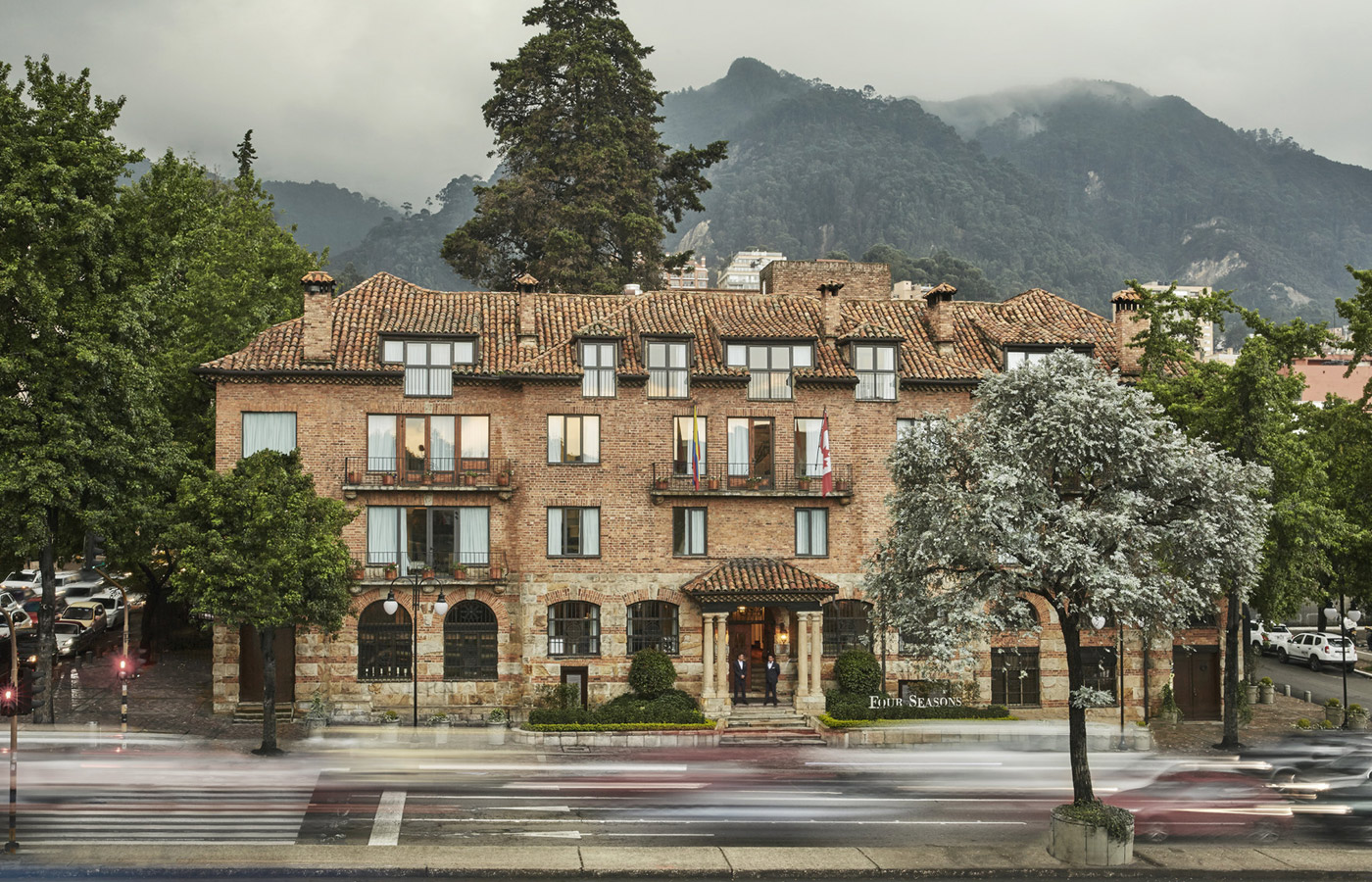 The grand facade of the Four Seasons Casa Medina, Bogota, Colombia