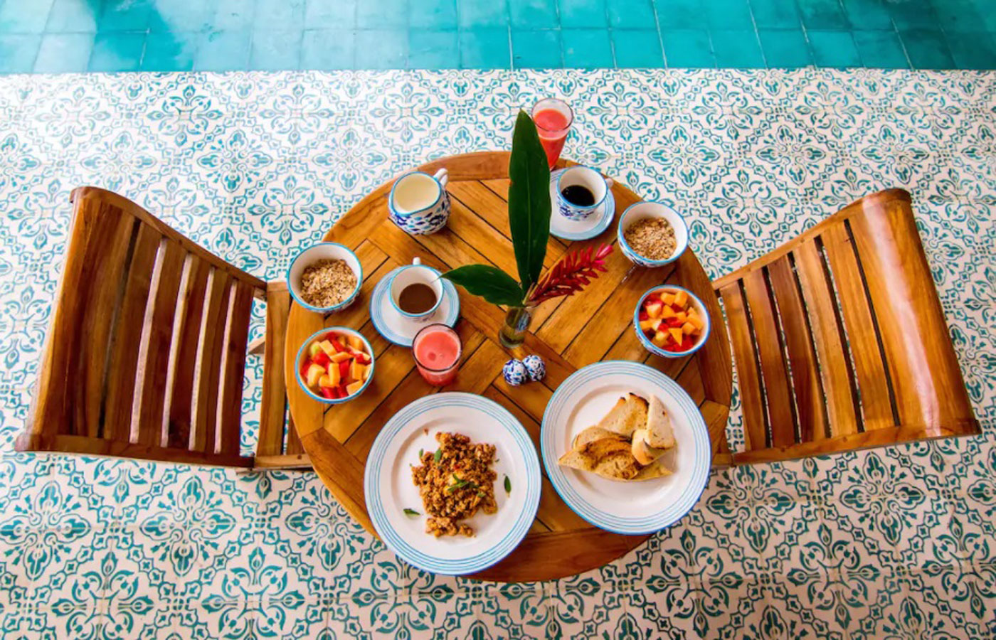 Breakfast poolside at Cayena Beach Villa