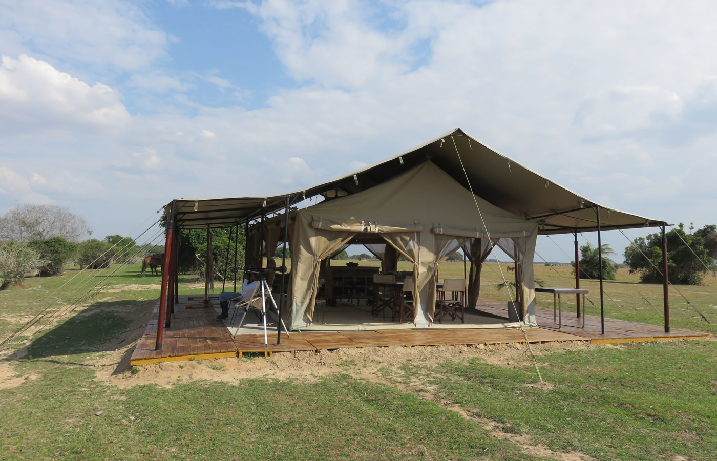 A luxurious tent at Corocora Camp, the llanos, Colombia