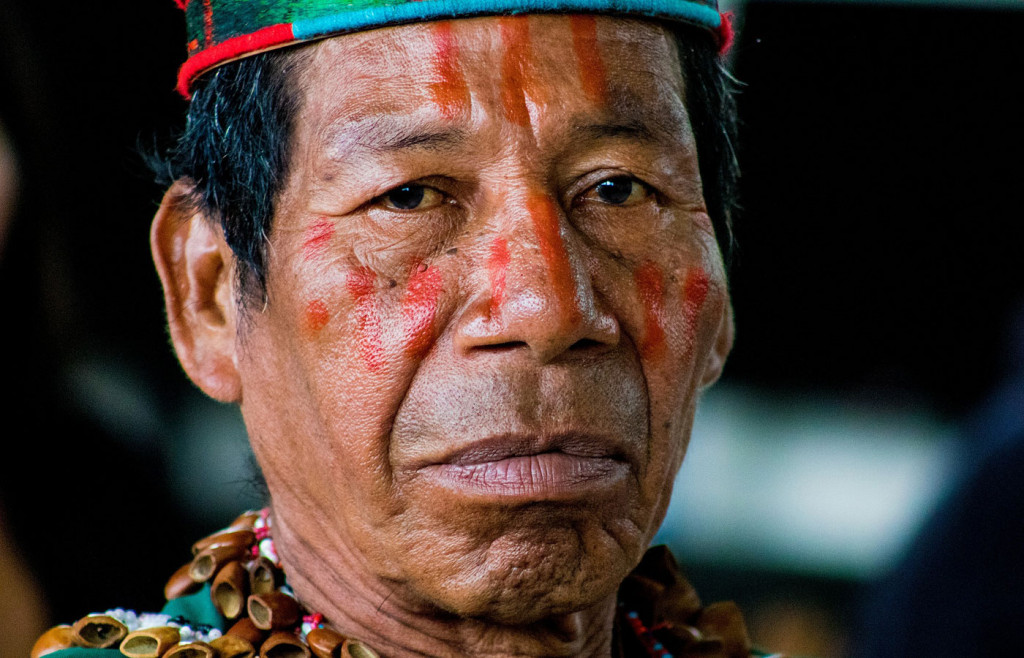 An indigenous man in the Ecuadorian Amazon