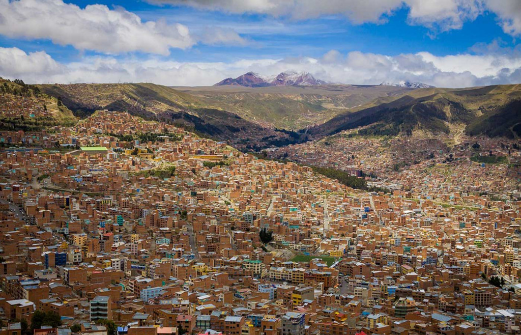 A view of the Bolivian capital city of La Paz