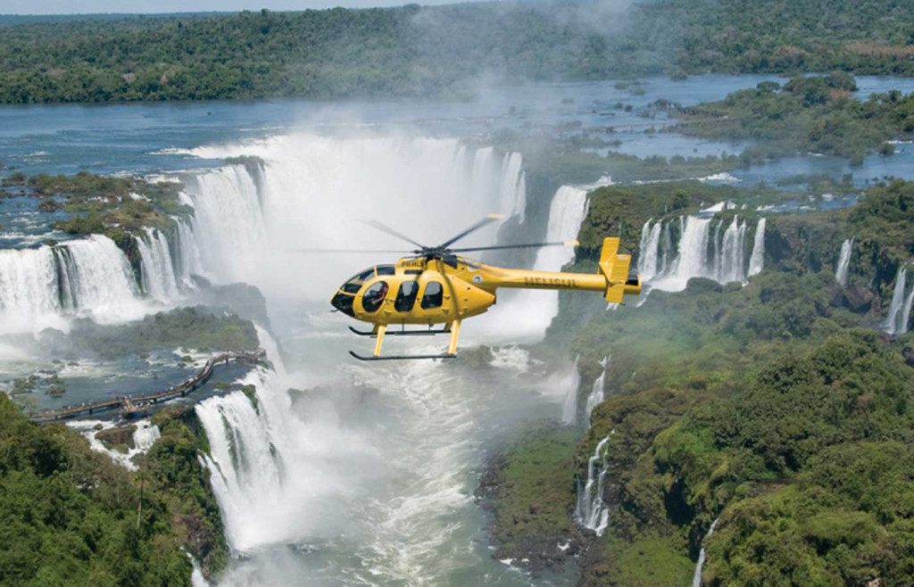 A helicopter tour over Iguassu Falls in Brazil