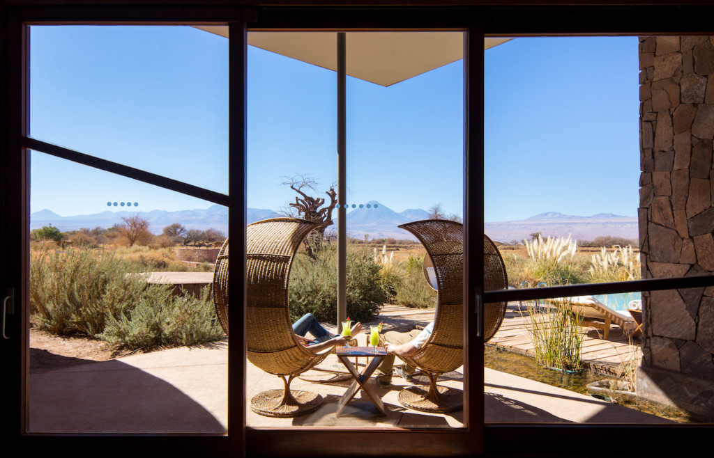 An outdoor lounge space at Tierra Atacama - Luxury holidays in Chile